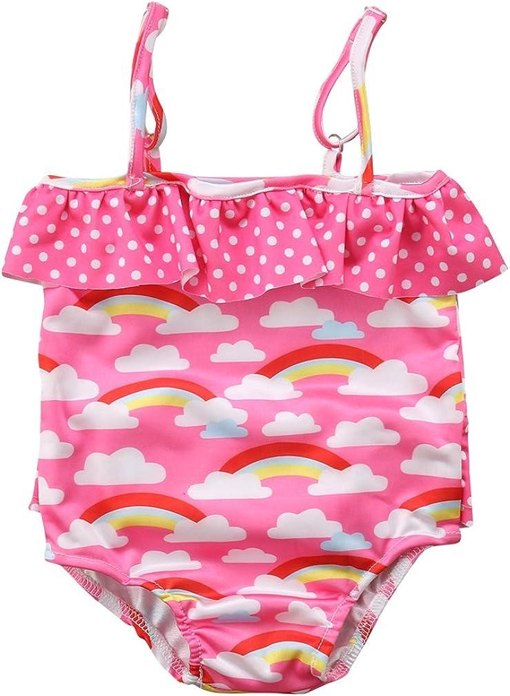 Specialcal Toddler Little Baby Girls Swimsuit Rainbow Print Bathing Suits Ruffle Swimwear Beachwear Bikini