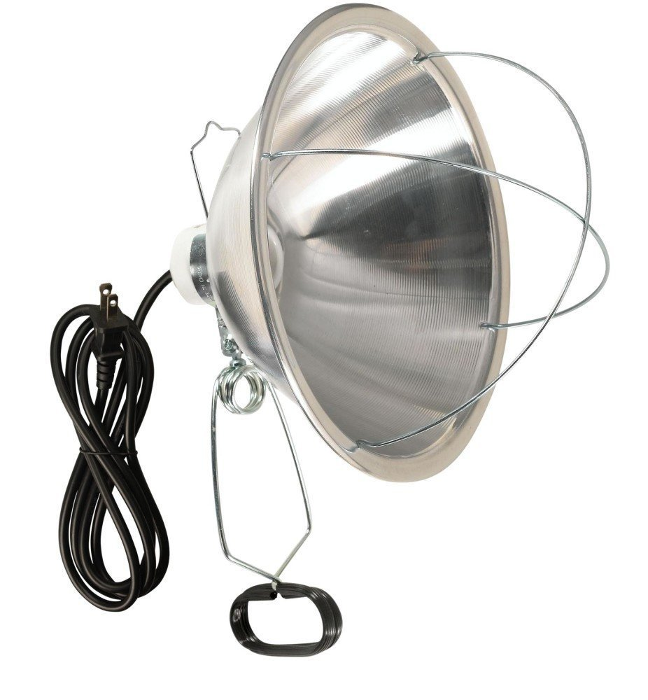 Woods 166SW Clamp Lamp with 10 Inch Reflector and Bulb Guard 300-Watt Bulb, Insulated Porcelain Socket, Versatile Lamp Clamp, Compatible with Higher Watt Bulbs, Portable Light Source, 6 Foot Cord