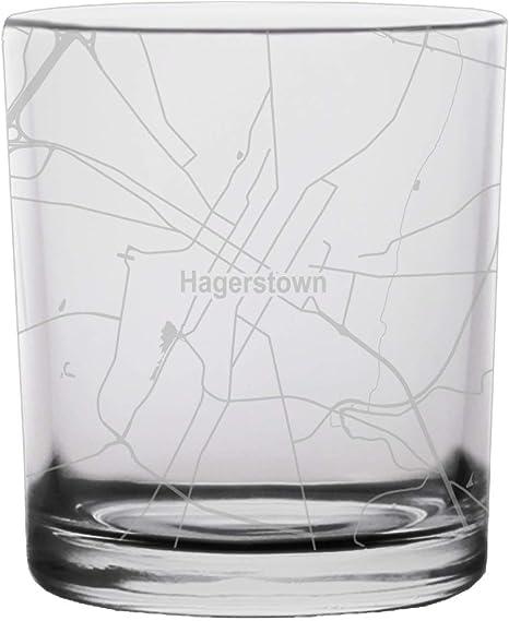 Frederick City Map Whiskey Glass Maryland