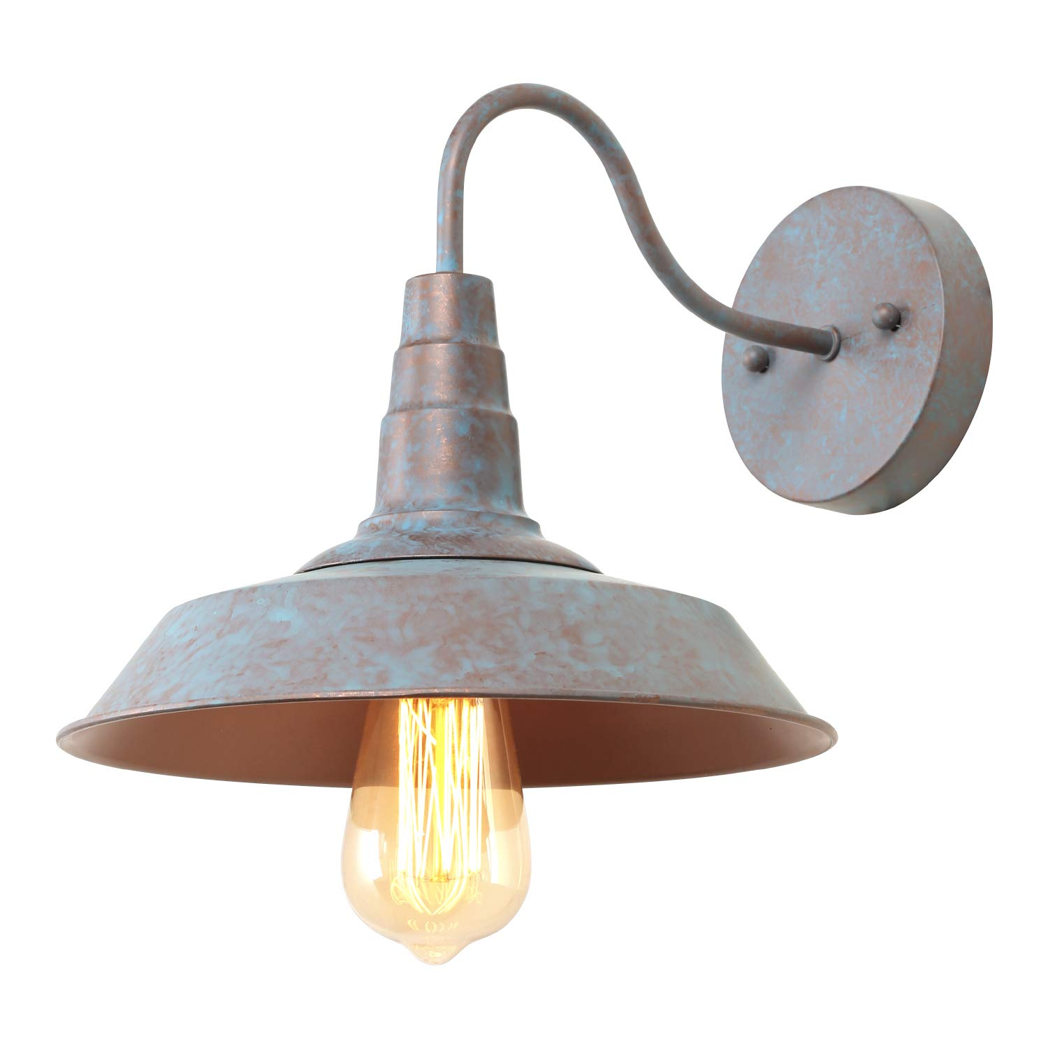LALUZ 1-Light Wall Sconce Distressed Blue and Bronze Tiffany Gooseneck Barn Light Fixture, 10.2 inches