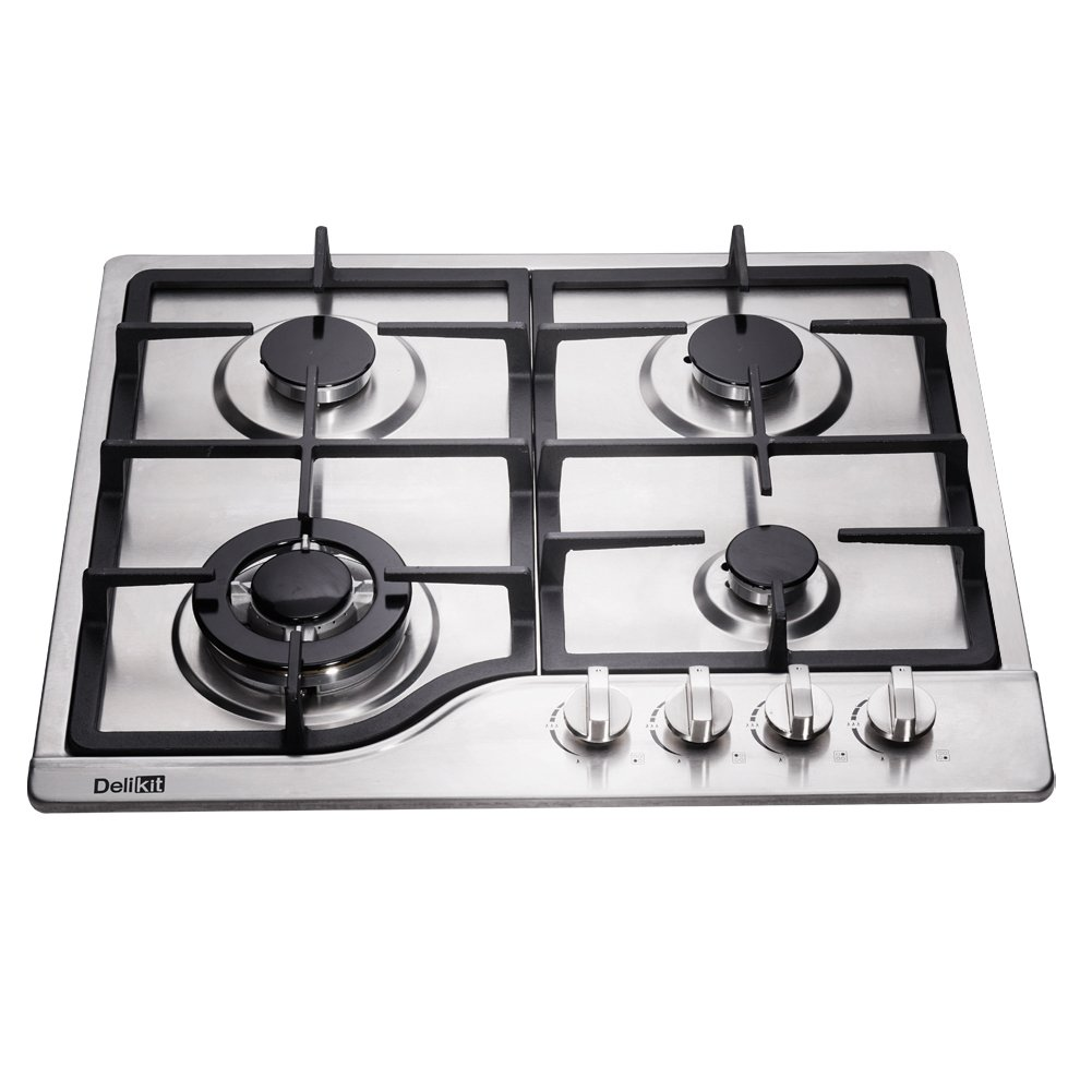 DeliKit DK245-B02 23 inch gas cooktop gas hob 4 burners LPG/NG Dual Fuel 4 Sealed Burners brass burner Stainless Steel Built-In gas hob 110V AC pulse ignition gas cooktop gas stove