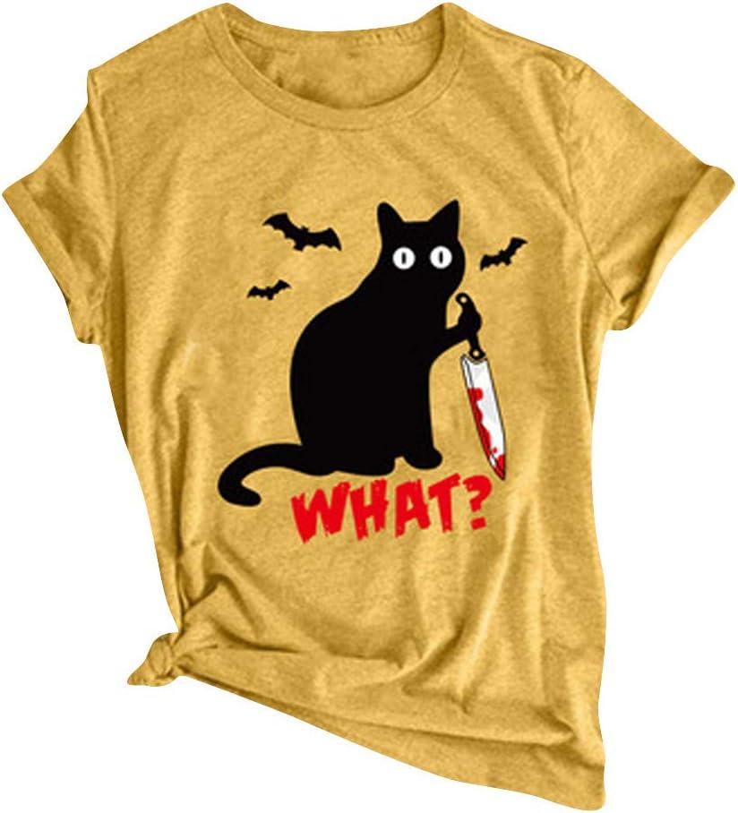 SIN+MON Womens Funny Halloween T-Shirt Casual Black Cat Letter Print Crew-Neck Basic Top