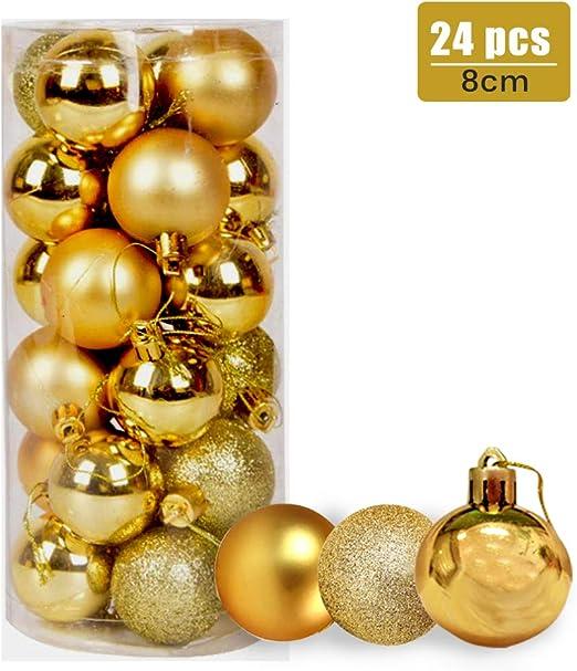 24 CT Shatterproof Christmas Ornament Balls Tree Hanging Wedding Decor GOLD