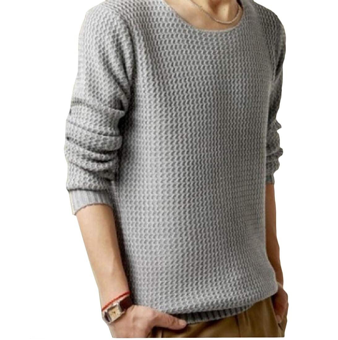 Mens Solid Ribbing Edge Simple Crew Neck Pullover Sweater Tops