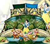Belomoda 5D Princess Theme Printed Double Bedsheet With 2 Pillow Cover With Zipper Pouchs With Zipper Pouch