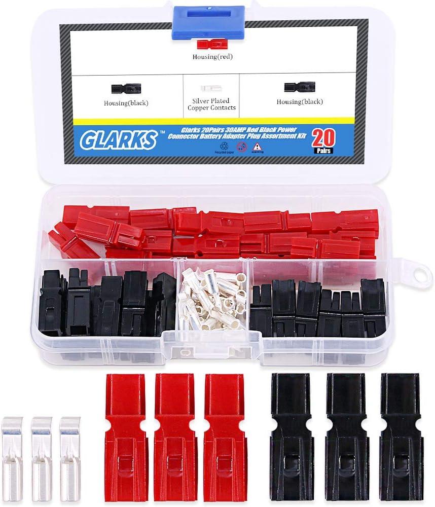 B01EUD2IJ8 Glarks 20 Pair 30AMP Quick Disconnect Power Terminals Connectors, Red Black Quick Connect Battery Connector Modular Power Connectors Set 61EfH4qBq2BL