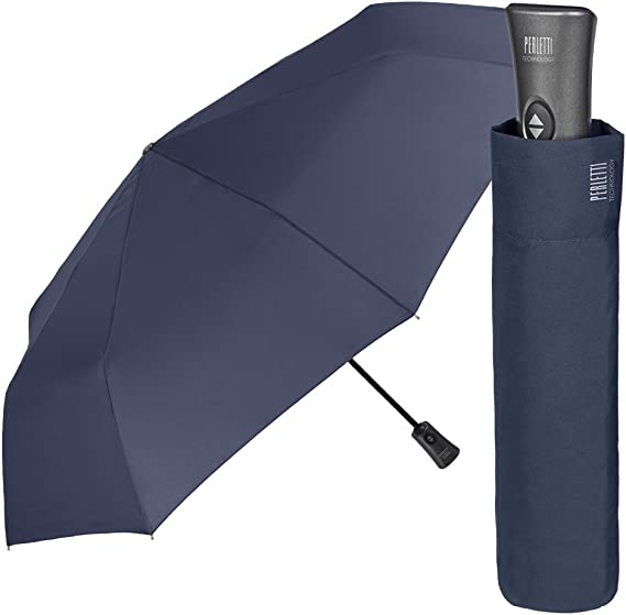 Ouverture Automatique Parapluie Homme Pliant Maison Perletti Finitions /él/égantes avec poign/ée en Cuir /écologique et Coutures Gris /à Motif /Écossais Haute qualit/é