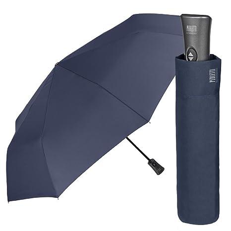 Paraguas Hombre Plegable y Ligero - Mini Paraguas de Color Sólido - Antiviento con Tratamiento Teflon