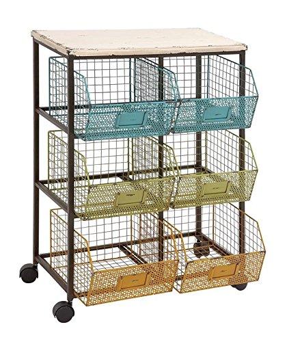 Deco 79 Metal Wood Basket Cart, 24 by 34-Inch