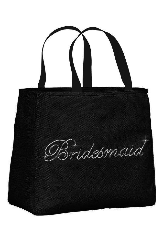 Bridesmaid Rhinestone Embellished Black Tote Bag for Wedding Shower, Bachelorette Party, or Wedding day