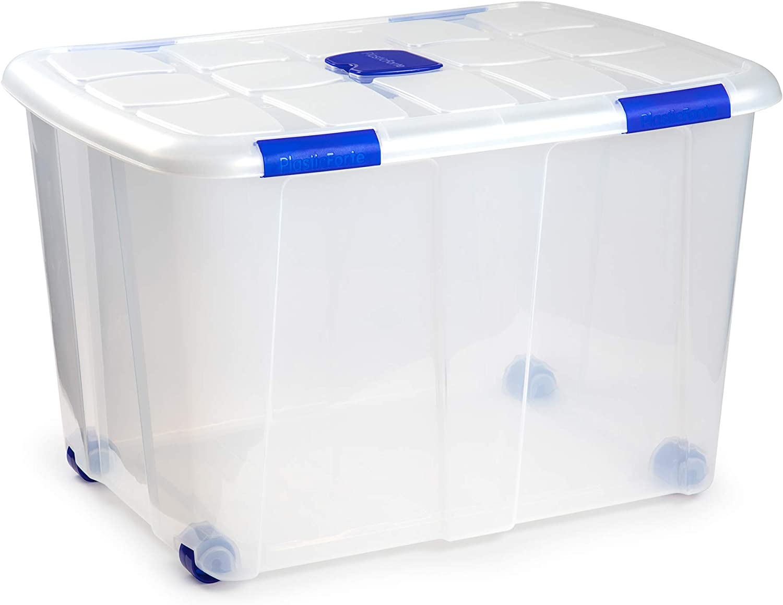 Plastic forte 11346 - Caja de almacenamiento, Transparente con ruedas, 130 litros ...