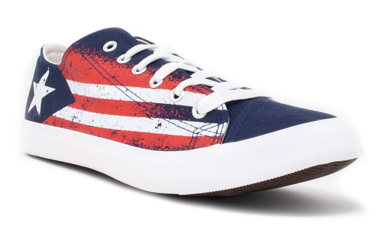 Puerto Rico Flag Sneakers | Cute Fun Rican Nuyorican Gym Tennis Shoe - Women Men - (Lowtop, US Men's 5, US Women's 7)