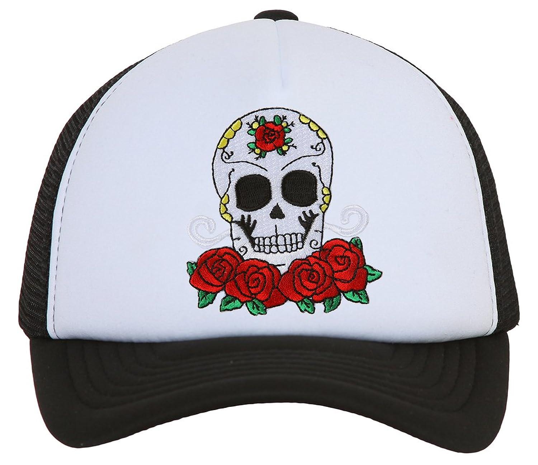 Candy Skull and Roses Black Trucker Mesh Snapback