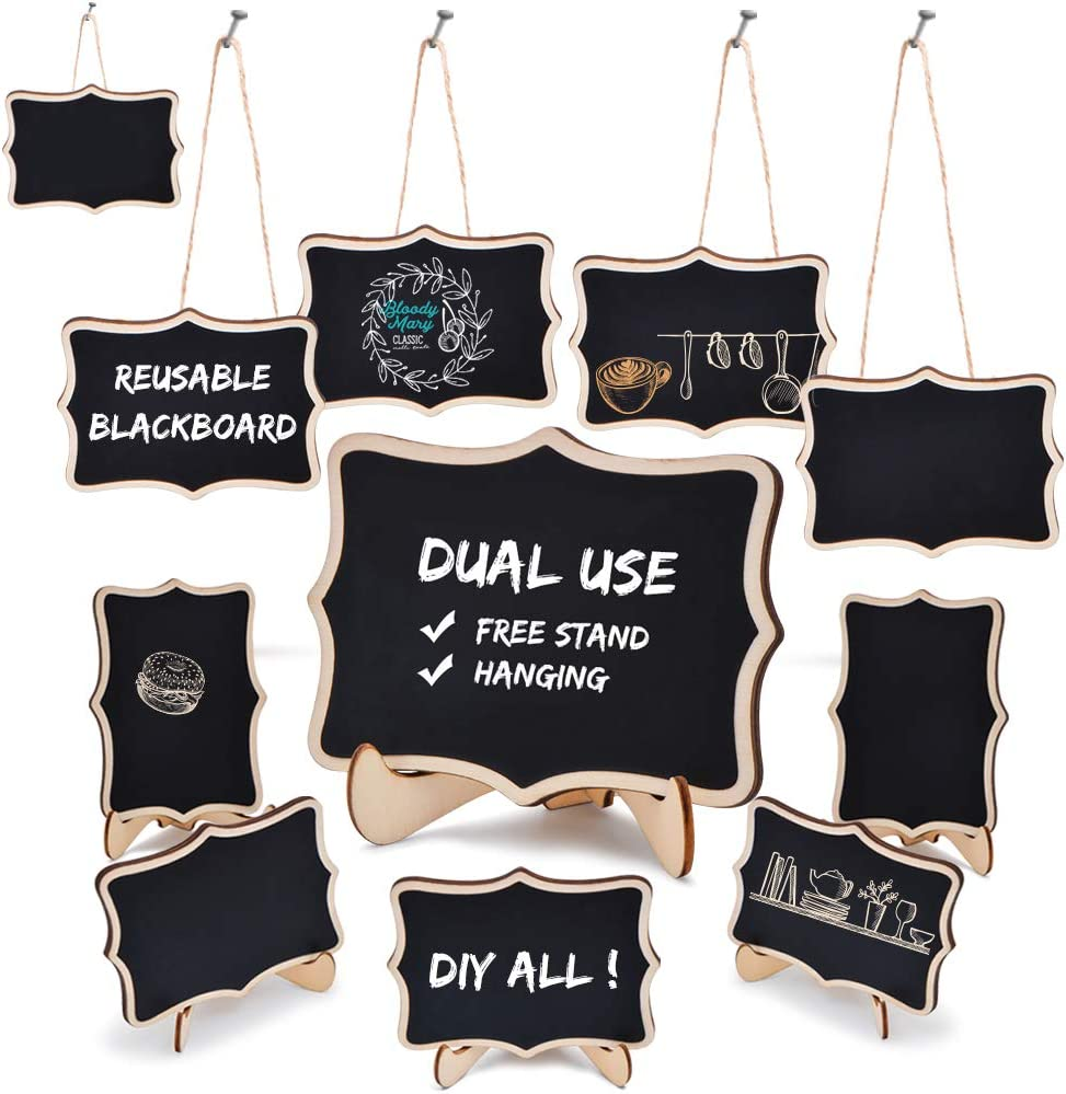 MCleanPin Mini Chalkboard Signs Dual use with Hanging String and Support Easel,Free Stand and Hanging Place Cards for Wedding,Parties and Decorations,10 Pack(Flower)