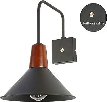 WRMING Vintage Lámpara de Pared, Metal Aplique E27 Luz de Pared con Interruptor Retro Iluminación de Pared para Escalera Vestíbulo Pasillo Granero: Amazon.es: Iluminación
