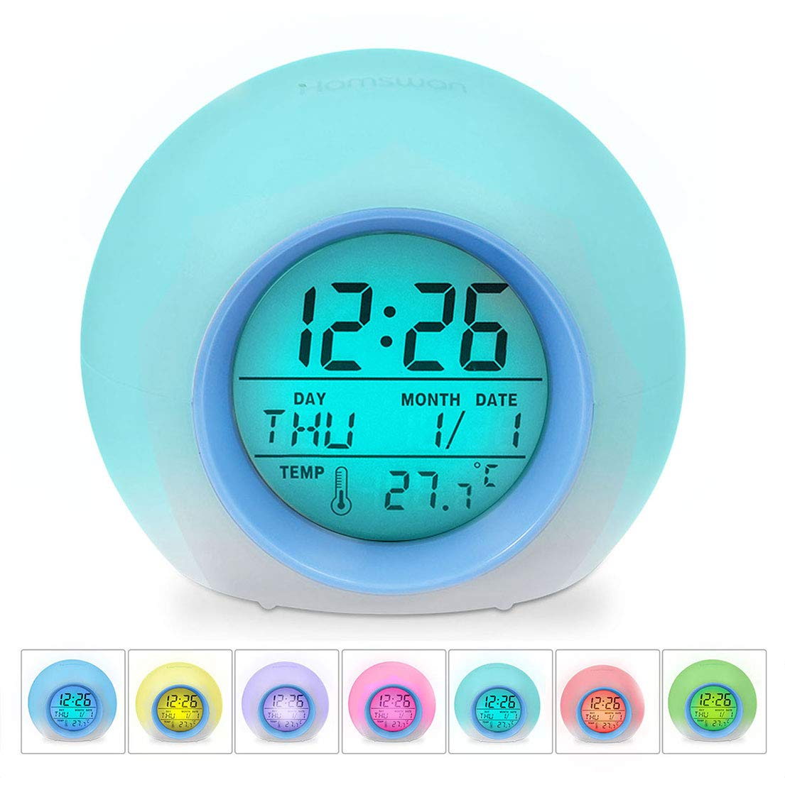 Alarm Clocks, HAMSWAN Digital Alarm Clock 7 Colors Changing Nature Sounds One Tap Control Sleep-Friendly with Indoor Temperature Display for Kids, Children, Working Parents, Students etc (Green) JL-C018-Green-UK