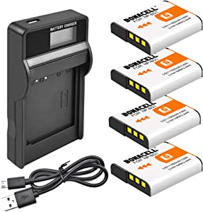 Bonacell NP-BG1 Battery(4 Pack) and LCD Charger Kit Compatible with Sony Cyber-Shot DSC-W220, DSC-H50, DSC-W150, DSC-H55, DSC-H3,DSC-H10, DSC-H20, DSC-H50, DSC-HX7V, DSC-HX9V DSC-W80 and More
