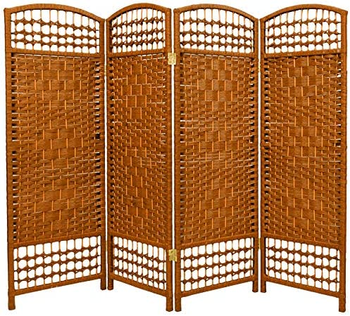 Oriental Furniture 4 ft. Tall Fiber Weave Room Divider – Dark Beige – 4 Panels