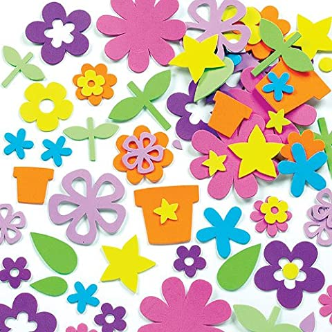 Flower Garden Foam Stickers for Children to Decorate Cards Collages Scrapbooking & Other Crafts Projects (Pack of 200)