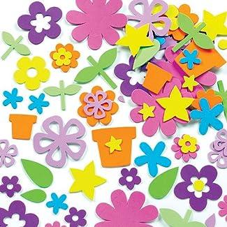 Lot de 200 Fleurs Autocollantes en Mousse - Idéal pour les collages du Printemps