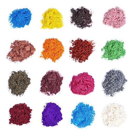 Soap Dye - Mica Powder Pigments for Bath Bomb - Soap Making Colorant - 16 Beautiful Colors (0.4 oz Each) - Candle Making,Blush, Slime,Eye Shadow,Nail Art,Resin Jewelry,Artist,Craft Projects