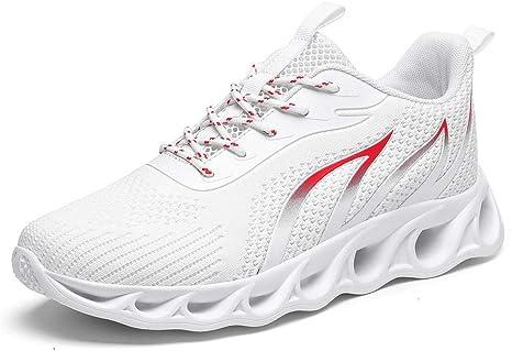 Vntoogreat Zapatillas de Entrenamiento para Correr en cuadrícula para Hombres, Zapatos para Caminar, Deportes al Aire Libre, Zapatos Casuales Transpirables y cómodos @ White_41: Amazon.es: Deportes y aire libre