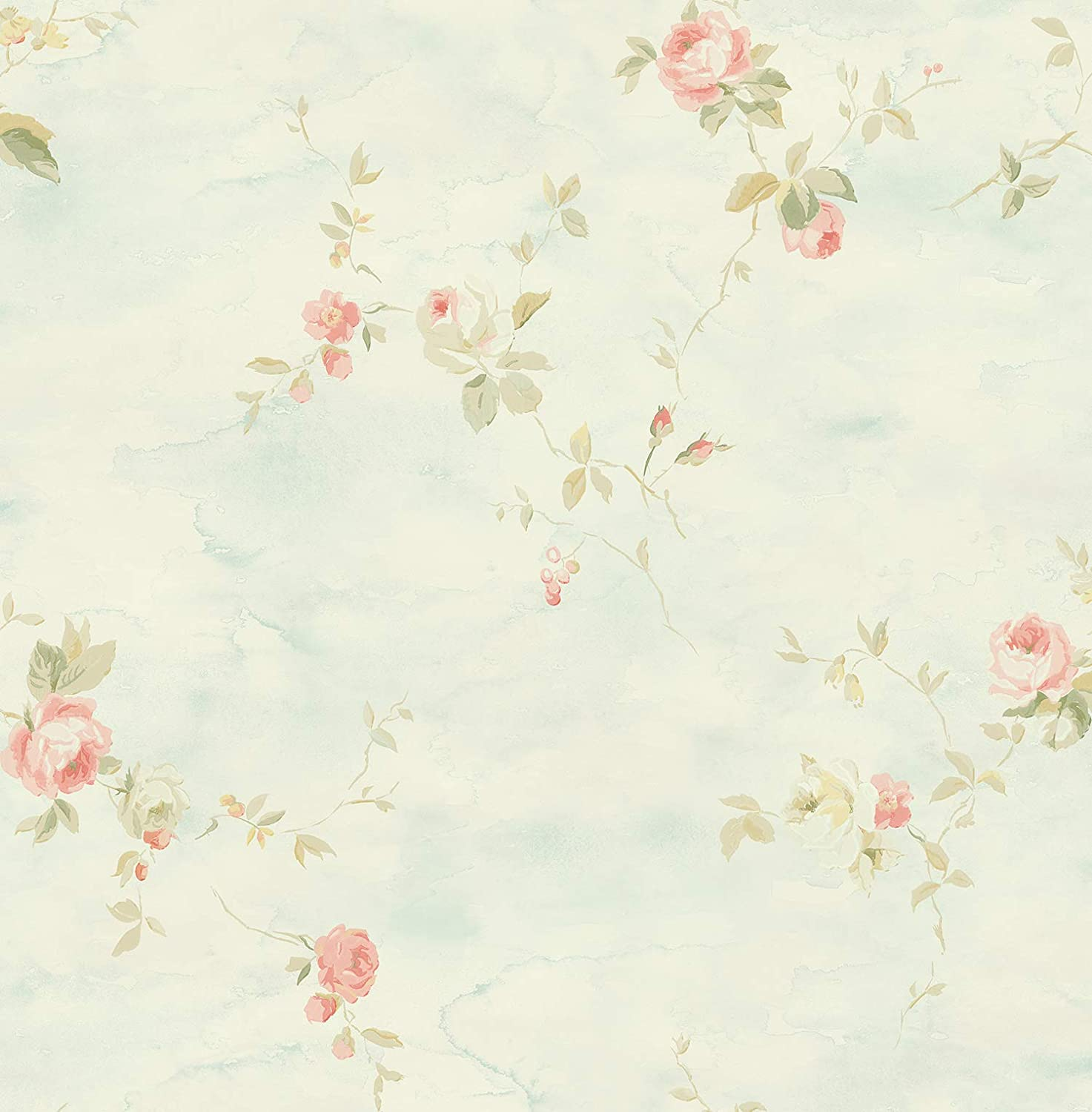 Blue Floral Wallpaper Chinoiserie Wallpaper Rose Wallpaper Vintage