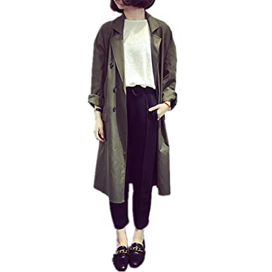 Amazon.com: Madehappy New Fashion Trench Coat For Women Double Breasted Slim Fit Long Spring Coat Feminino Abrigos Mujer Autumn Outerwear Army Green One ...