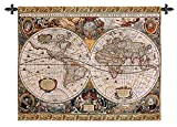 Fine Art Tapestries Antique Map Geographica Small Wall Tapestry 4185-WH 45 inches wide by 35 inches long, 100% cotton