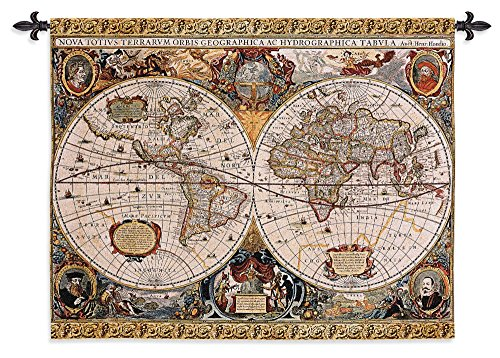 Fine Art Tapestries Antique Map Geographica Hand Finished European Style Jacquard Woven Wall Tapestry 100% Cotton USA size 35x45 Woven to Last A (Beautiful Hand Woven Antique)