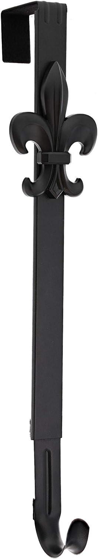 Haute Decor Adapt Adjustable Length Wreath Hanger with Removable Icon (Matte Black - Fleur de lis)