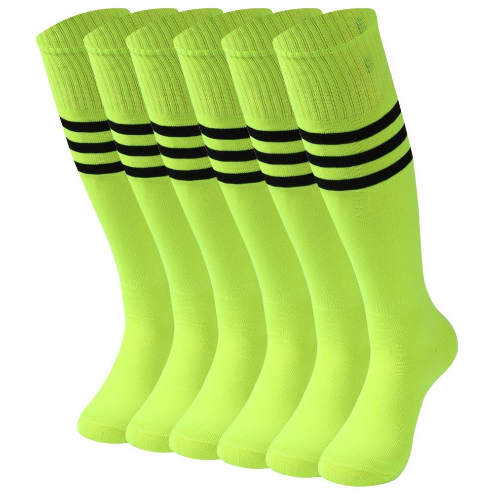 saounisi Women Cheerleading Socks,6 Pairs Knee High Tube Long Team Socks Size 9-13 Fluorescent Green by saounisi