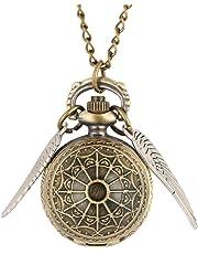 Harry Potter boccino d' oro bronzo retro orologio da tasca, forma a sfera con ali collana quarzo Orologio da tasca, regalo per uomini