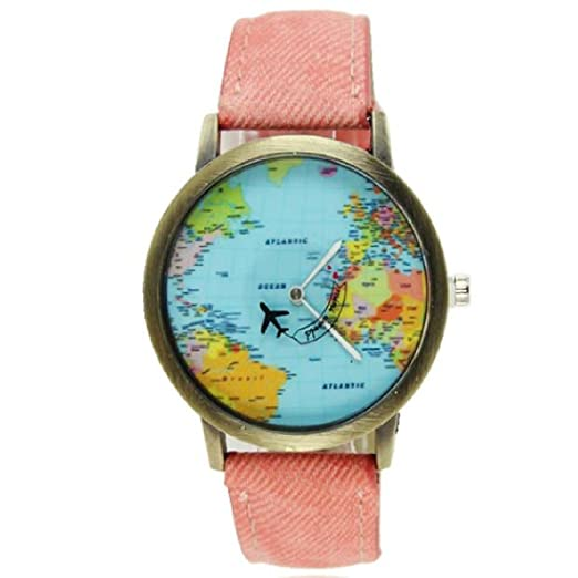 Moda mujeres hombres vintage tierra mundo mapa Reloj Denim Tela Muñeca relojes rosa