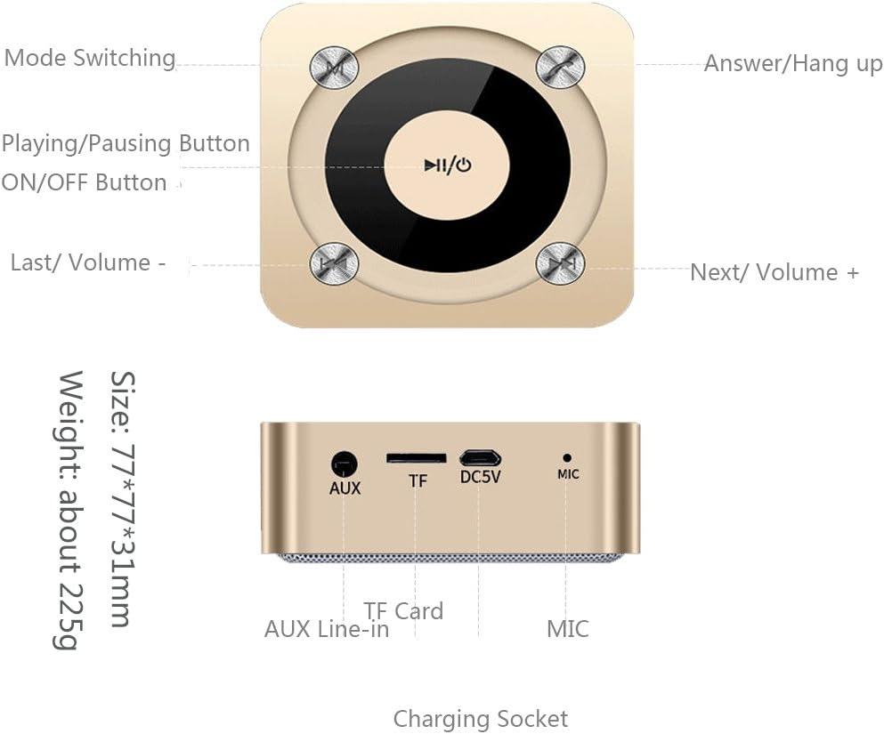 Altavoz Bluetooth, Elec.BGS Portátil Mini Recargable de Viaje para Uso en Interiores, micrófono Incorporado, Sonido estéreo, línea AUX y Ranura para ...