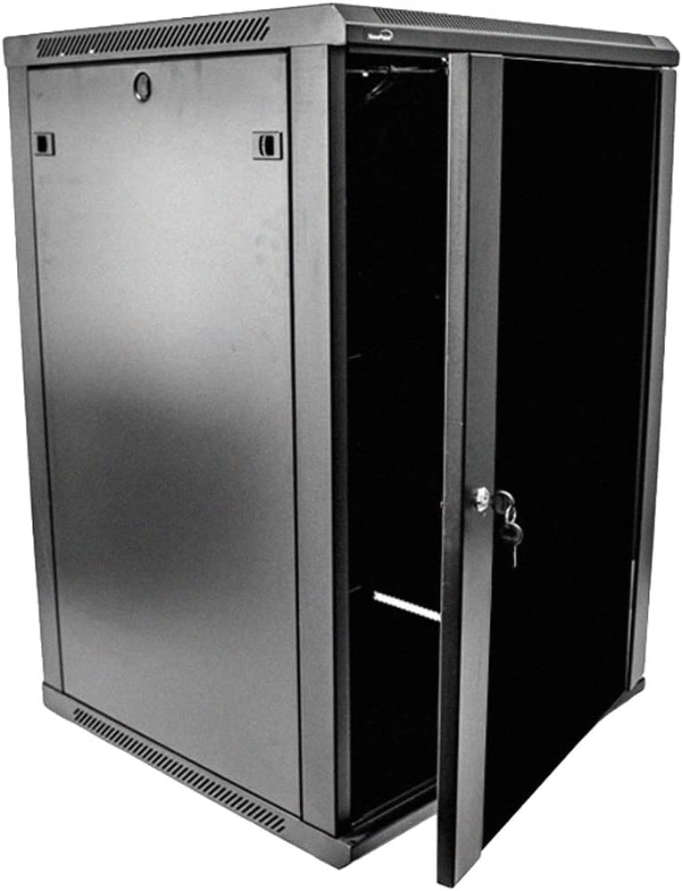 NavePoint 18U Deluxe IT Wallmount Cabinet Enclosure 19-Inch Server Network Rack with Locking Glass Door 24-Inches Deep Black