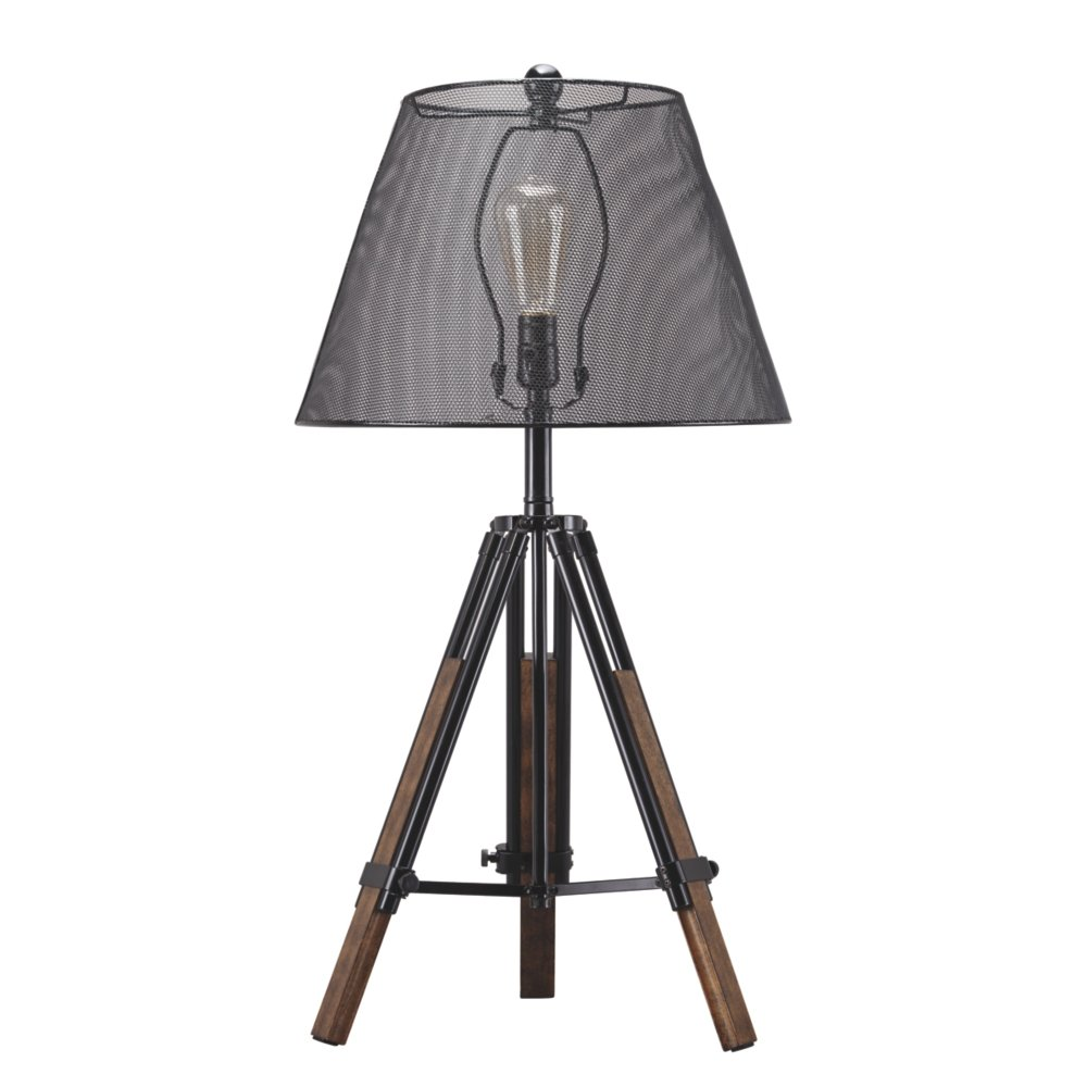 Ashley Furniture Signature Design - Leolyn Table Lamp with Metal Shade - Adjustable Height - Black/Brown by Signature Design by Ashley (Image #1)