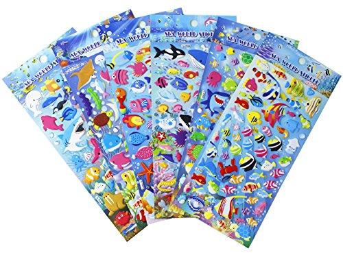 Happy Underwater Sea World Stickers 6 Sheet with Angelfish, Sharks, Starfish, Hippocampus - PVC Ocean Foam Fish Stickers for Kids - 240 Stickers (Stickers Fun Fish)