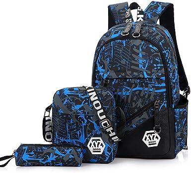 Juego de 3 bolsas escolares para niños + bolsa pequeña para el hombro + estuche para lápices, mochila de viaje impermeable para niños Azul azul Talla única: Amazon.es: Ropa y accesorios