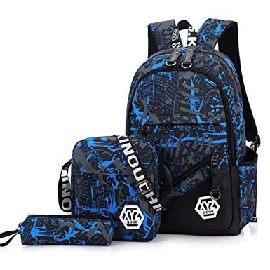 Juego de 3 bolsas escolares para niños + bolsa pequeña para el hombro + estuche para lápices, mochila de viaje impermeable para niños