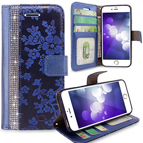 iPhone 6 Case, iPhone 6S case, iPhone 6 / 6S Wallet Case, Cellularvilla Shiny Diamond Bling [Credit Card Holder Slot] Protective Pu Leather Wallet Case For Apple iPhone 6 / 6S 4.7 inch - Navy Blue