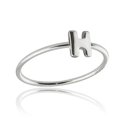 de3716126e098 Amazon.com  Sterling Silver Letter H Ring