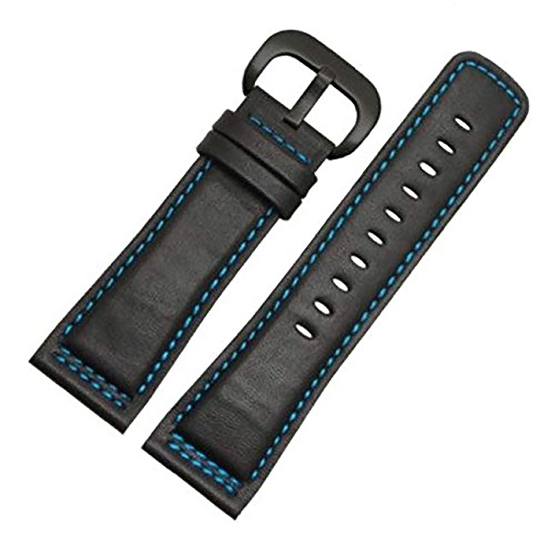 [エイト]腕時計ベルト 28mm ブラックブルー-黒色PVD尾錠 レザー ELB086 [並行輸入品]  B01N1RGZ7I