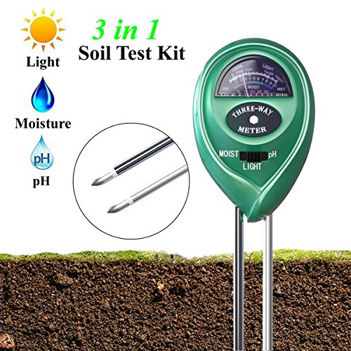XIYIXIFI Soil pH Meter, 3 in 1 Soil Test Kit for Moisture, Light & pH for Garden, Lawn, Farm, Plants, Herbs and Indoor & Outdoor Plants Soil Tester, Accurate & Easy Read Indicator (No Battery Needed)