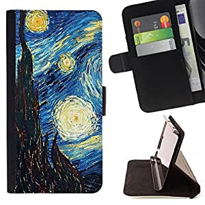 - Gogh Starry Night Art Painting/ Personalizada del estilo del dise???¡¯???¡Ào de la PU Caso de encargo del cuero del tir???¡¯????n del s - Cao - For Sony