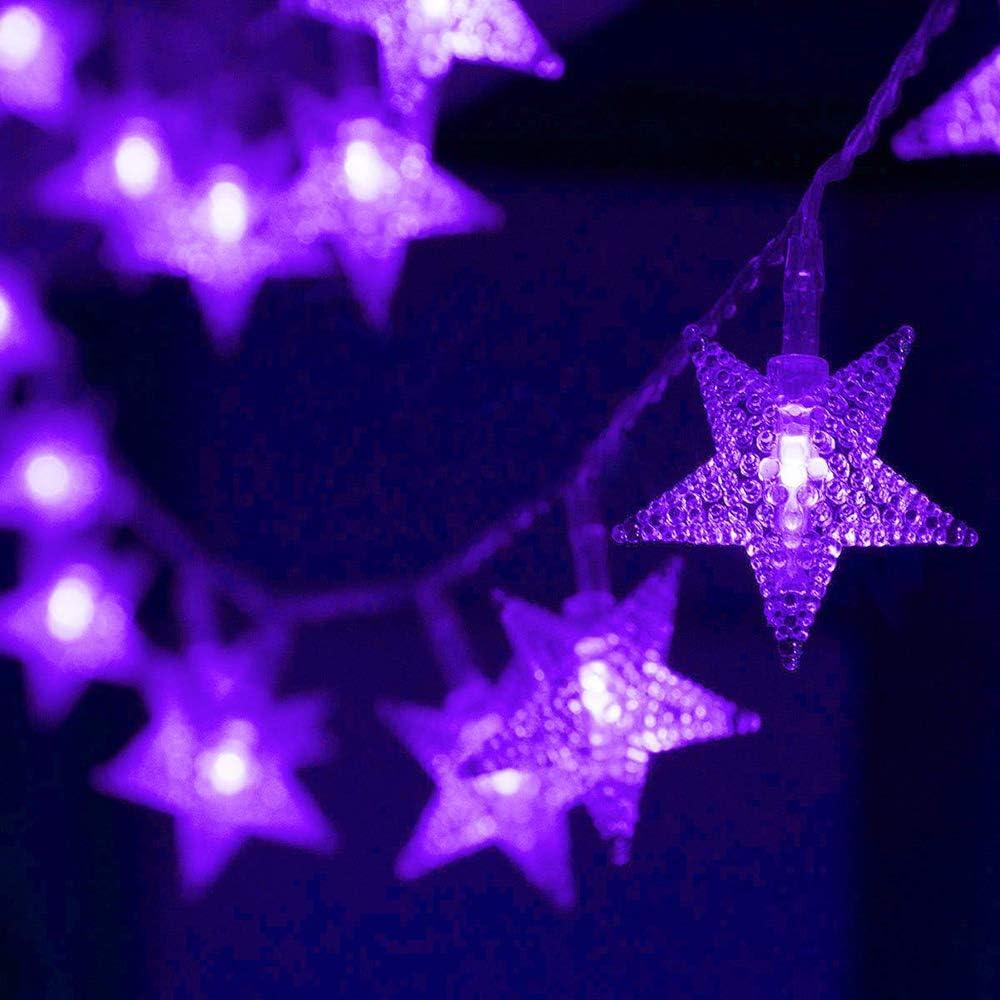 Purple star string lights