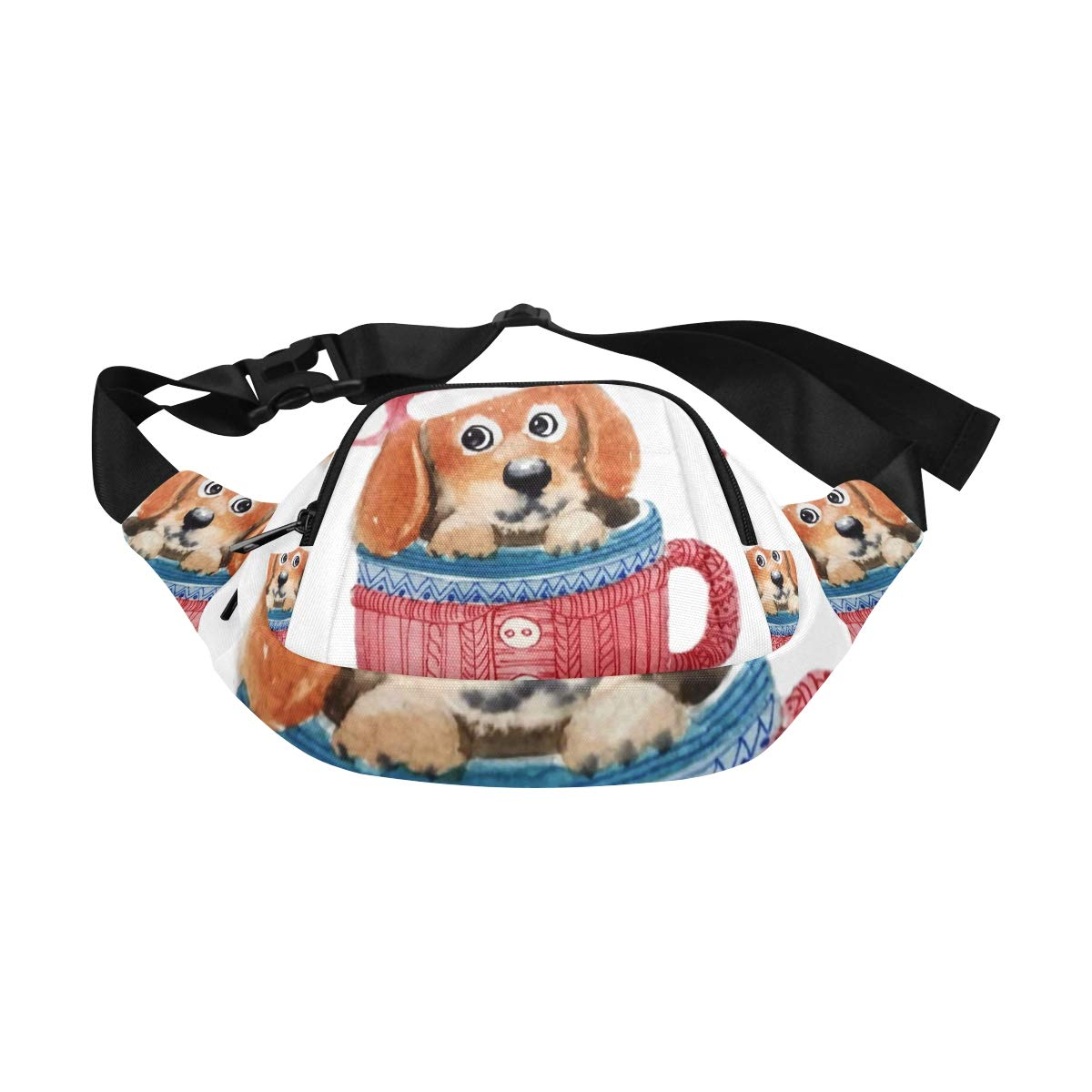 Cute Little Puppy Sit In A Cap Fenny Packs Waist Bags Adjustable Belt Waterproof Nylon Travel Running Sport Vacation Party For Men Women Boys Girls Kids