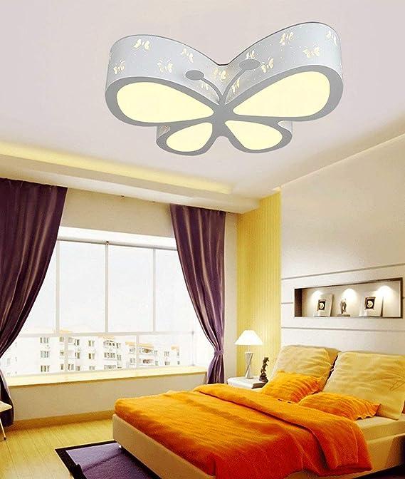 Wei/ßes Licht 24W 50 * 40 * 10CM Wei/ß Malovecf Kinderzimmer Deckenleuchte Schlafzimmer Lampe LED kreative Schmetterling Beleuchtung Kindergarten M/ädchen Prinzessin Raum Beleuchtung