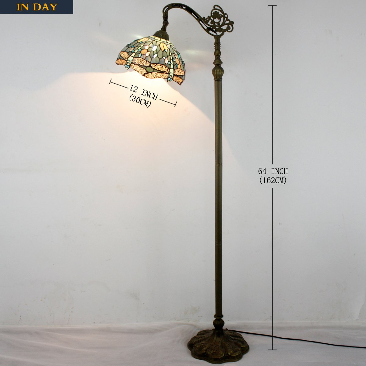 Tiffany Style Reading Floor Lamp Sea Blue Stained Glass with Crystal Bead Dragonfly Lampshade 64 Inch Tall Antique Arched Base for Bedroom Living Room Lighting Table Set Gifts S147 WERFACTORY