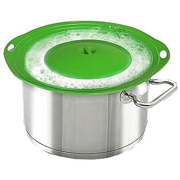 Tapón de tapa de derrames para ollas y sartenes, protección para sobre-ebullición y derrames en tu estufa, silicona sin BPA, fácil de limpiar, color verde: ...
